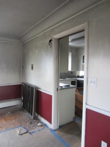 The wall that used to separate the dining area and kitchen.