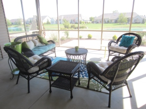 Accent pillows in sunroom