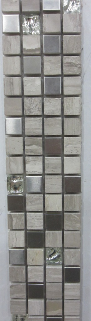 Stone, glass, and metal mosaic blend