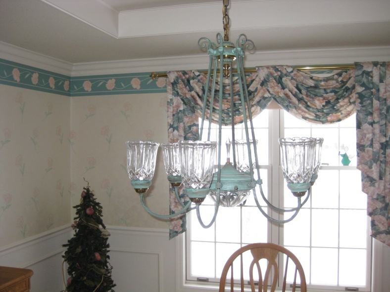 BEFORE: This chandelier is looking like it needs a fresh coat of paint